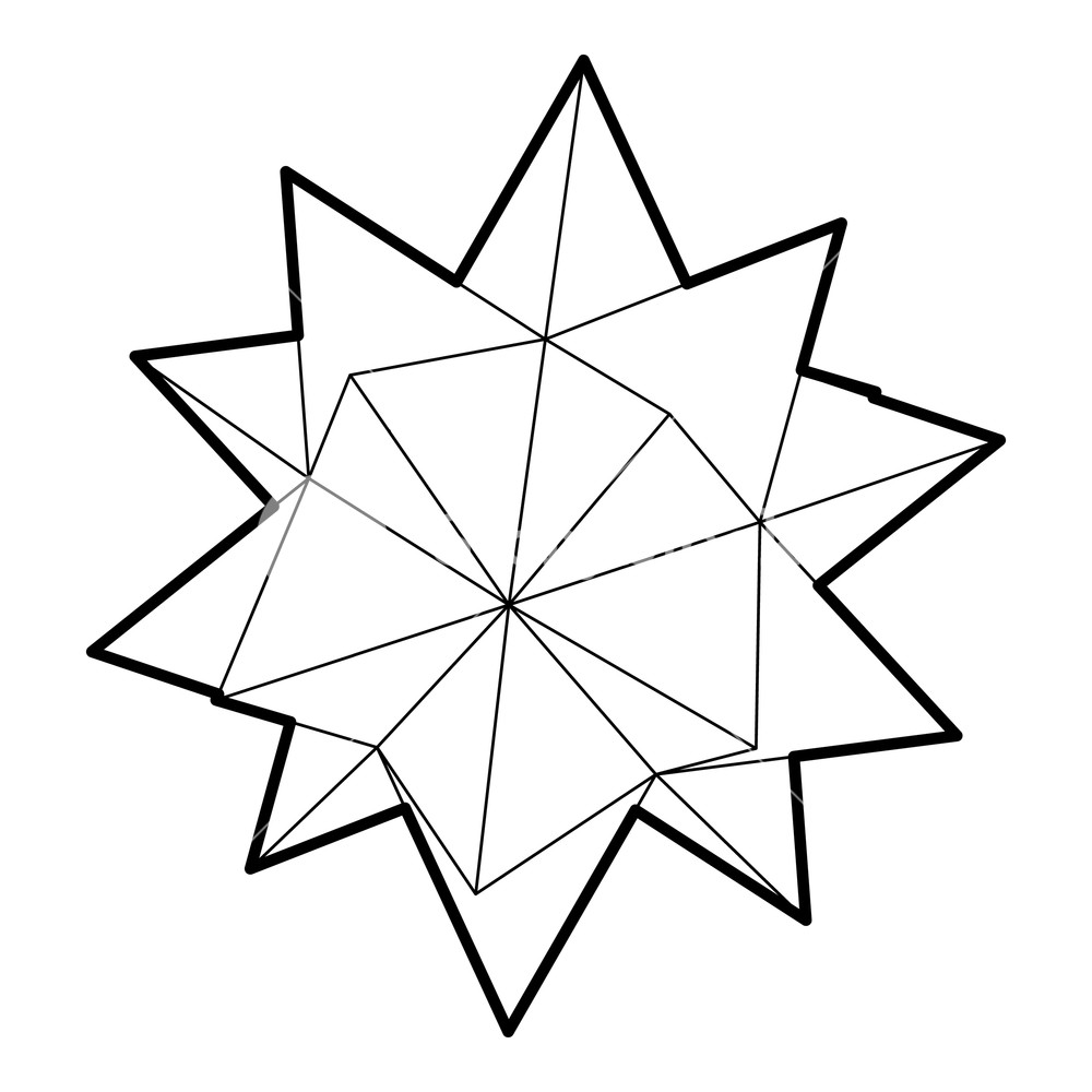 1000x1000 Ten Pointed Star Icon In Outline Style On A White Background