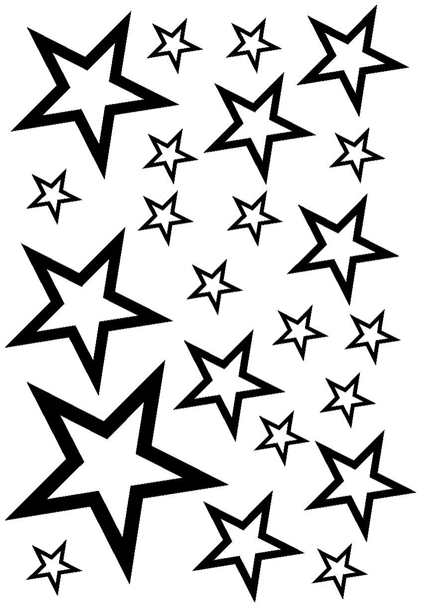 846x1220 Star Sticker Set Outline Car Motorbike
