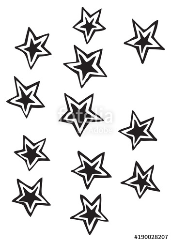 353x500 Solid Five Point Stars With Detached Outline Vector Drawing