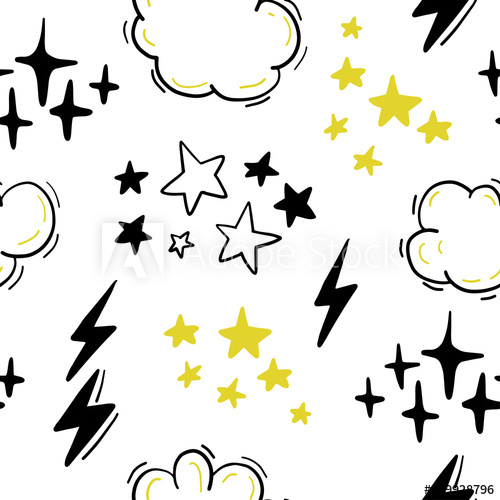 500x500 Vector Seamless Pattern With Stars, Clouds, Lightning In Hand