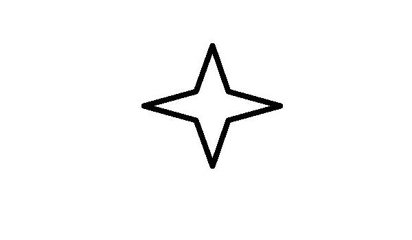 600x350 Point Star Outline Only, Vinyl Car Decal, 'white