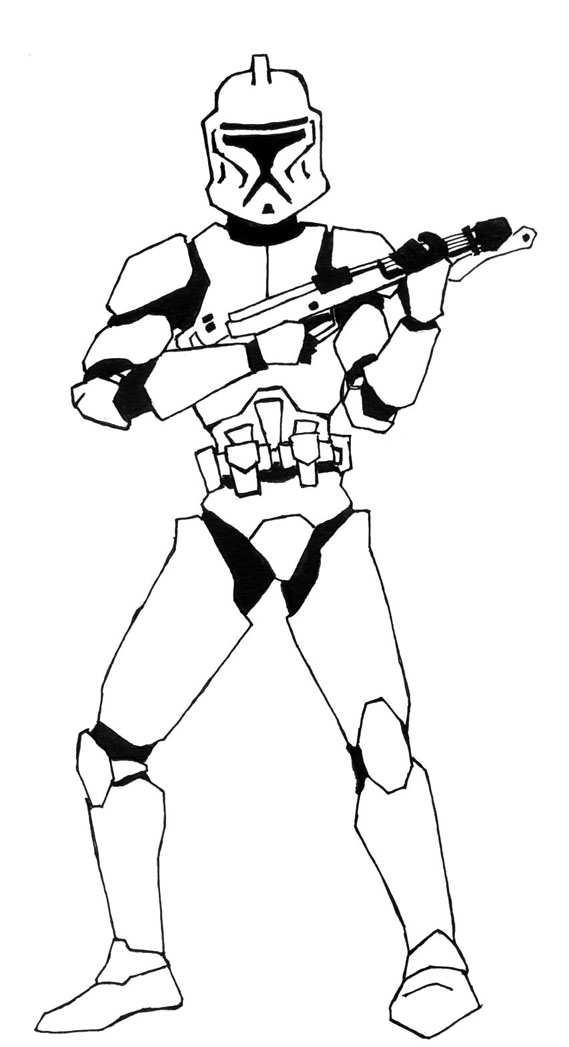 569x1047 Clone Troopers From Star Wars Easy Drawings Free Image