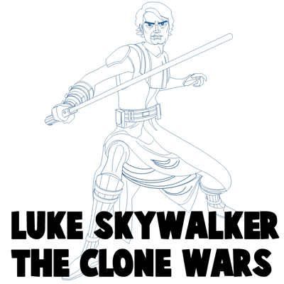 400x400 How To Draw Anakin Skywalker From Star Wars The Clone Wars Cartoon