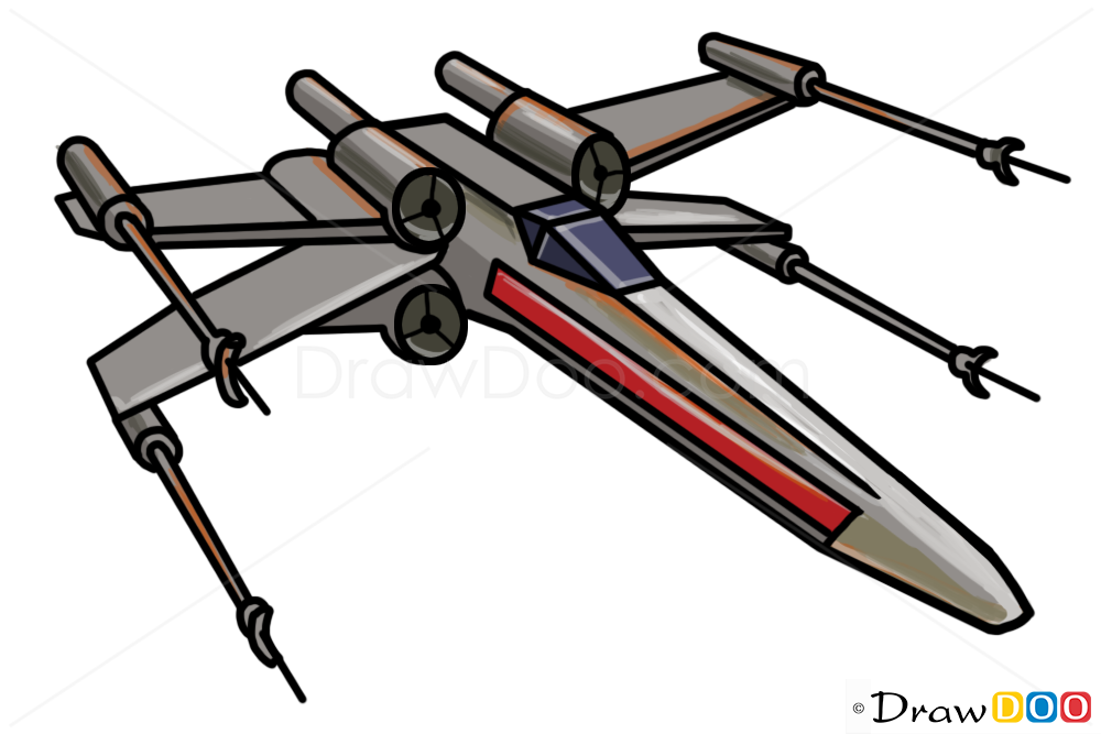 1000x667 Star Wars Spaceship Drawings Easy How To Draw X Wing, Star Wars