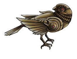 263x200 steampunk bird tattoo drawings more like clockwork