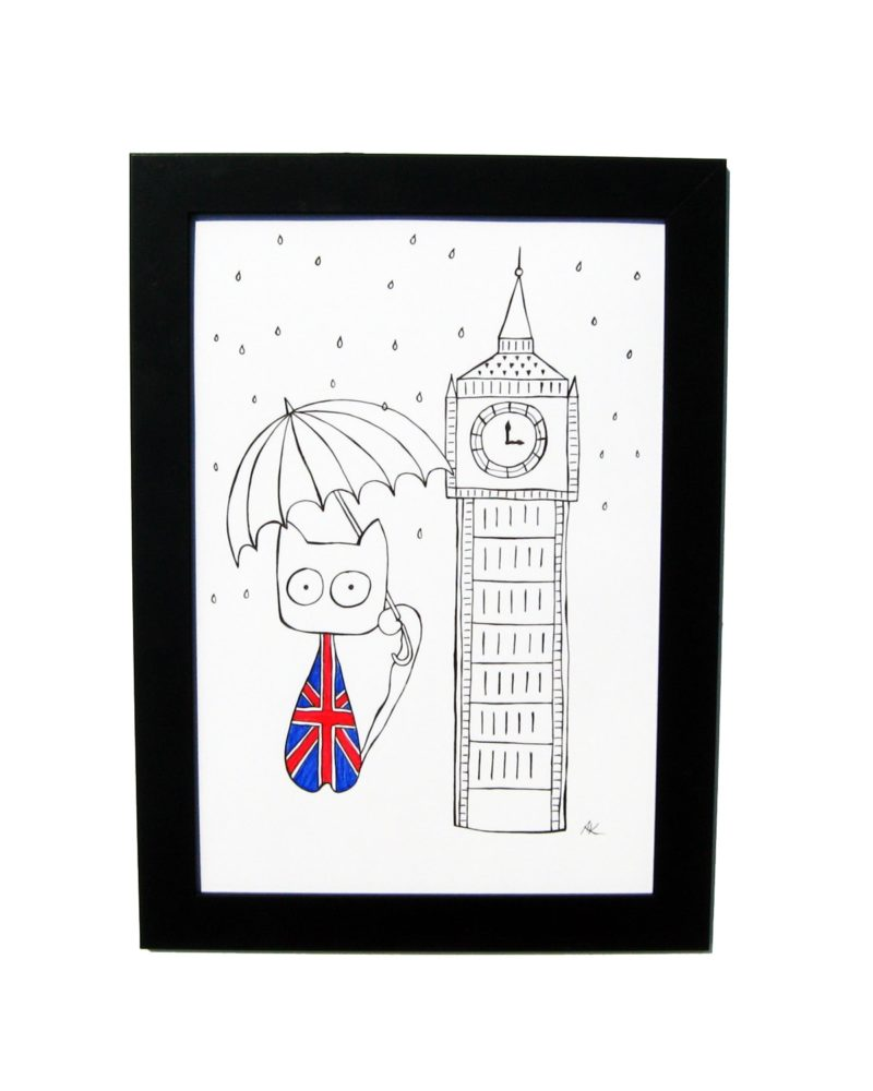 800x1000 Drawing Handmade London Holiday, Cat And Big Ben Art And Cat