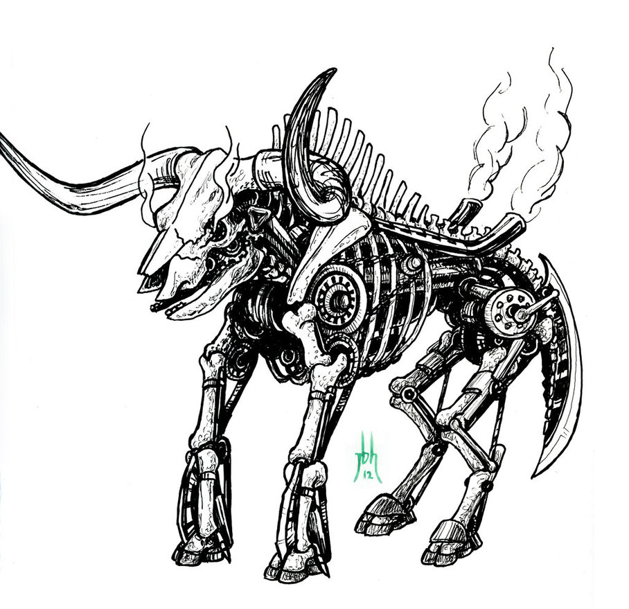 908x879 Bull Drawing Steampunk For Free Download