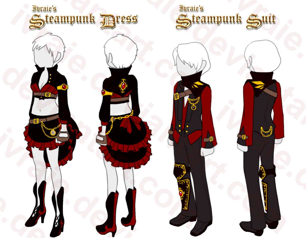 1160x900 steampunk outfit drawings ivraie's steampunk set