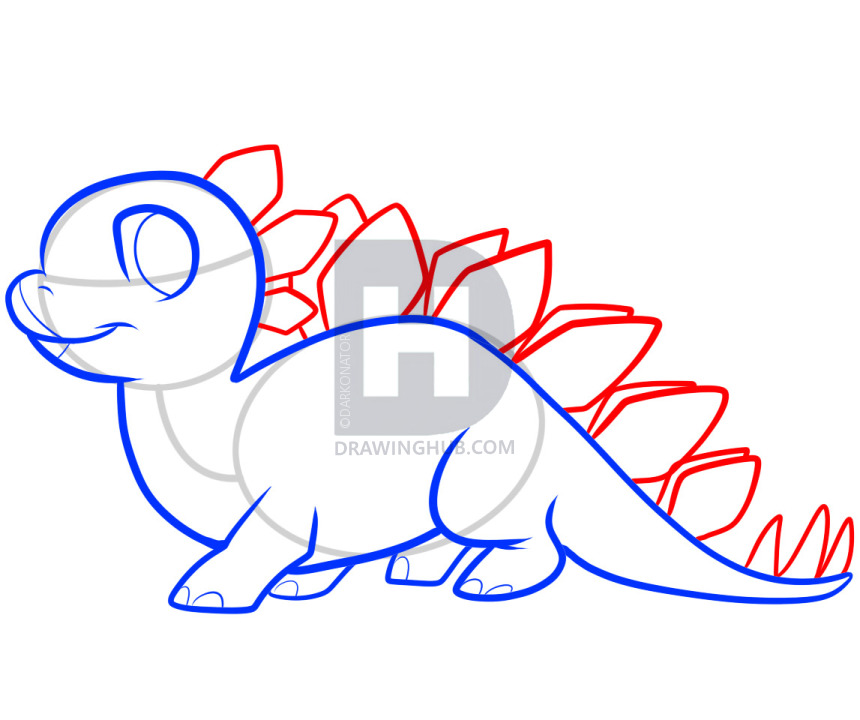 860x720 How To Draw A Stegosaurus For Kids, Step