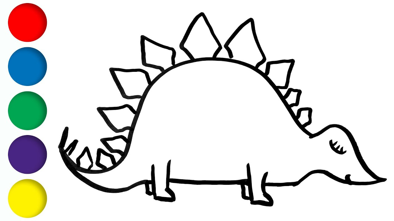 1280x720 Stegosaurus Dinosaur Coloring And Drawing For Kids And Toddlers