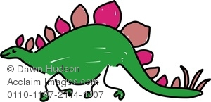 300x145 Clipart Image Of A Whimsical Drawing Of A Stegosaurus