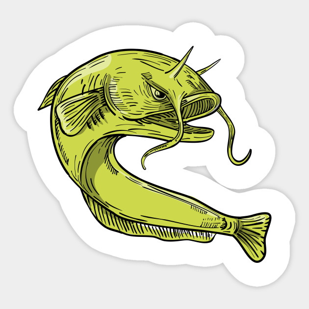 630x630 Devil Catfish Jumping Drawing