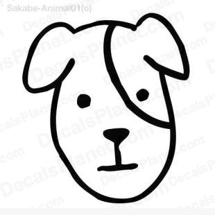 310x310 dog face simple drawing decal, vinyl decal sticker, wall decal