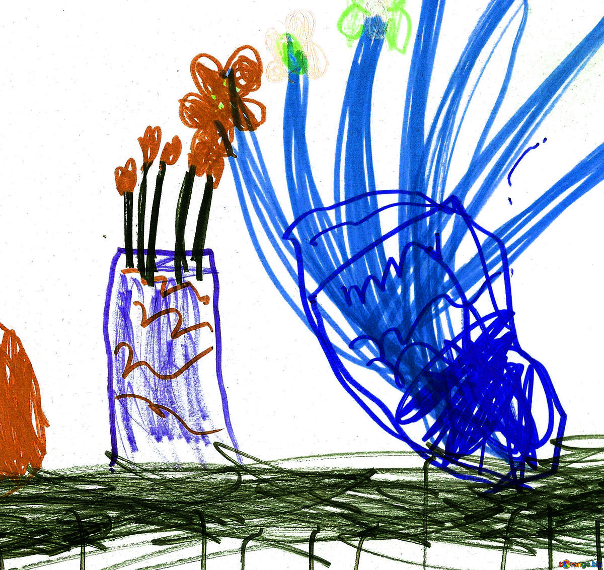 1200x1132 Download Free Picture Still Life Vase Of Flowers Children Drawing