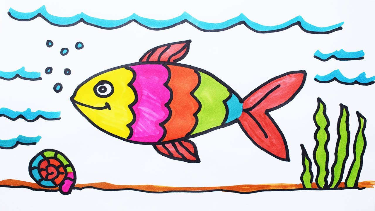 1280x720 How To Draw Fish And Coloring Fish Under Water For Kids How