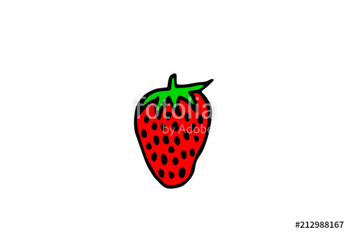 500x334 Drawing Of A Strawberry, Vector Illustration Stock Image