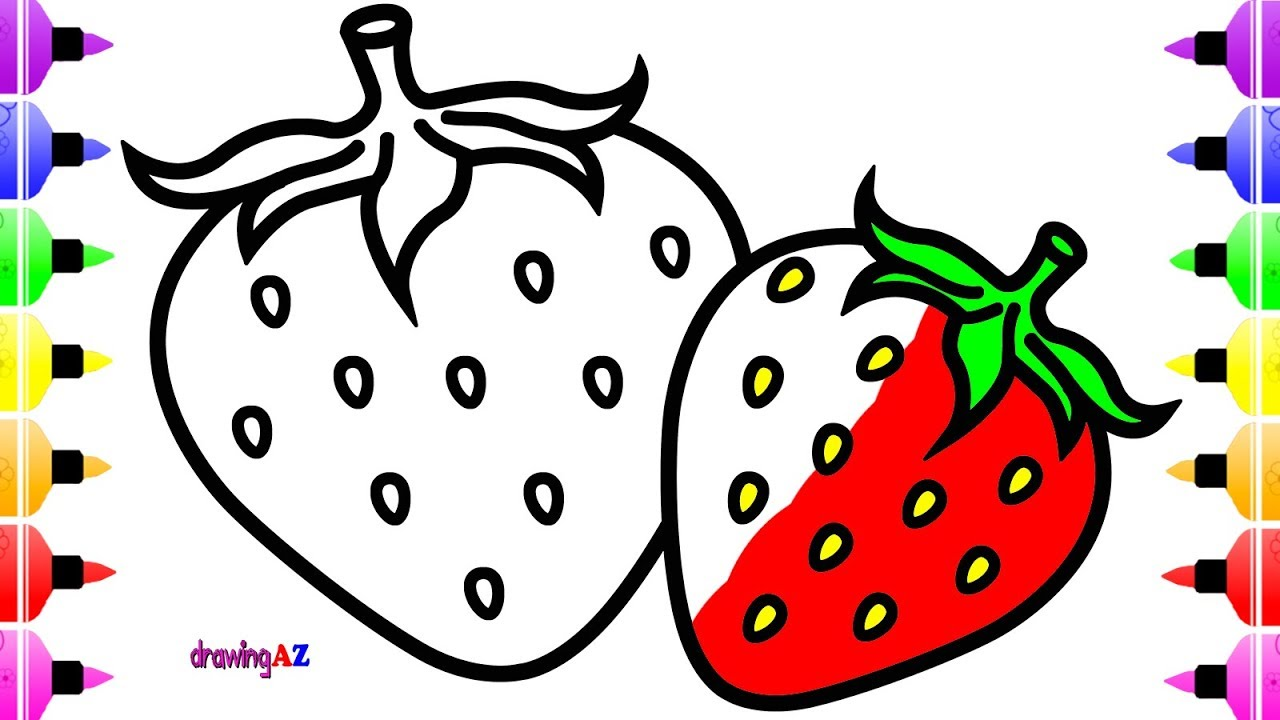 1280x720 How To Draw Strawberry For Baby Learn Color With Cute Coloring