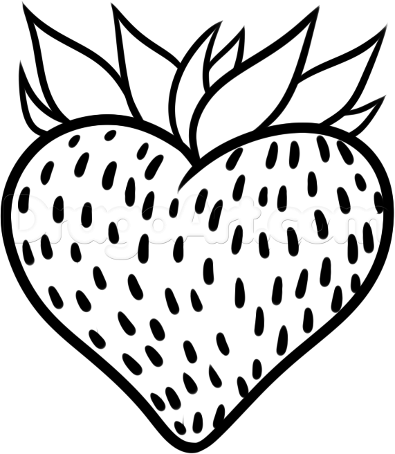 571x656 How To Draw A Strawberry Heart, Step