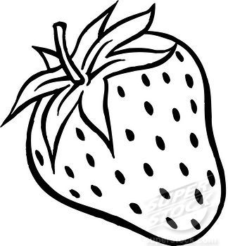 324x350 A Black And White Drawing Of A Plump Strawberry Stock Photo