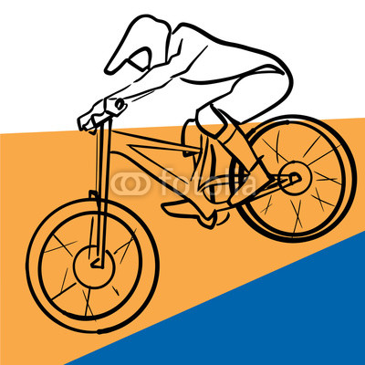 400x400 Hand Drawn Silhouette Of Single Male Bicyclist On Bicycle Yellow
