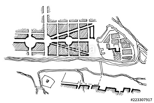 500x334 urban plan of a city, old village doodle city map vector city