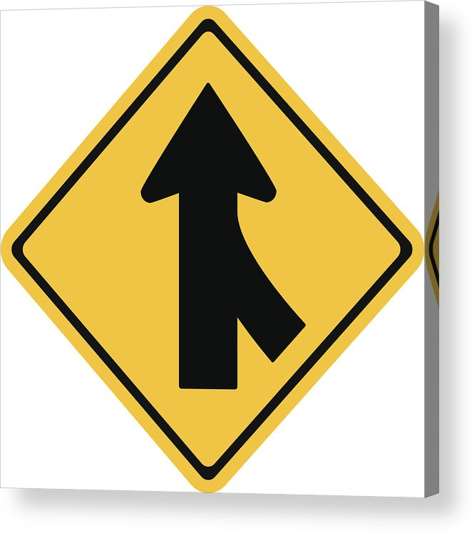 665x748 warning traffic sign, traffic merges from the right acrylic print