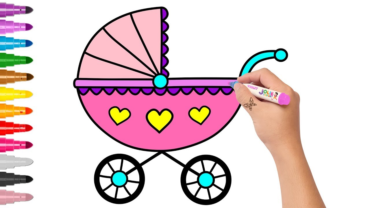 1280x720 Baby Stroller Drawing And Coloring Learn Colors For Kids