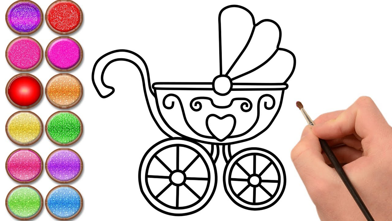 1280x720 Glitter Newborn Baby Stroller Coloring And Drawing For Kids