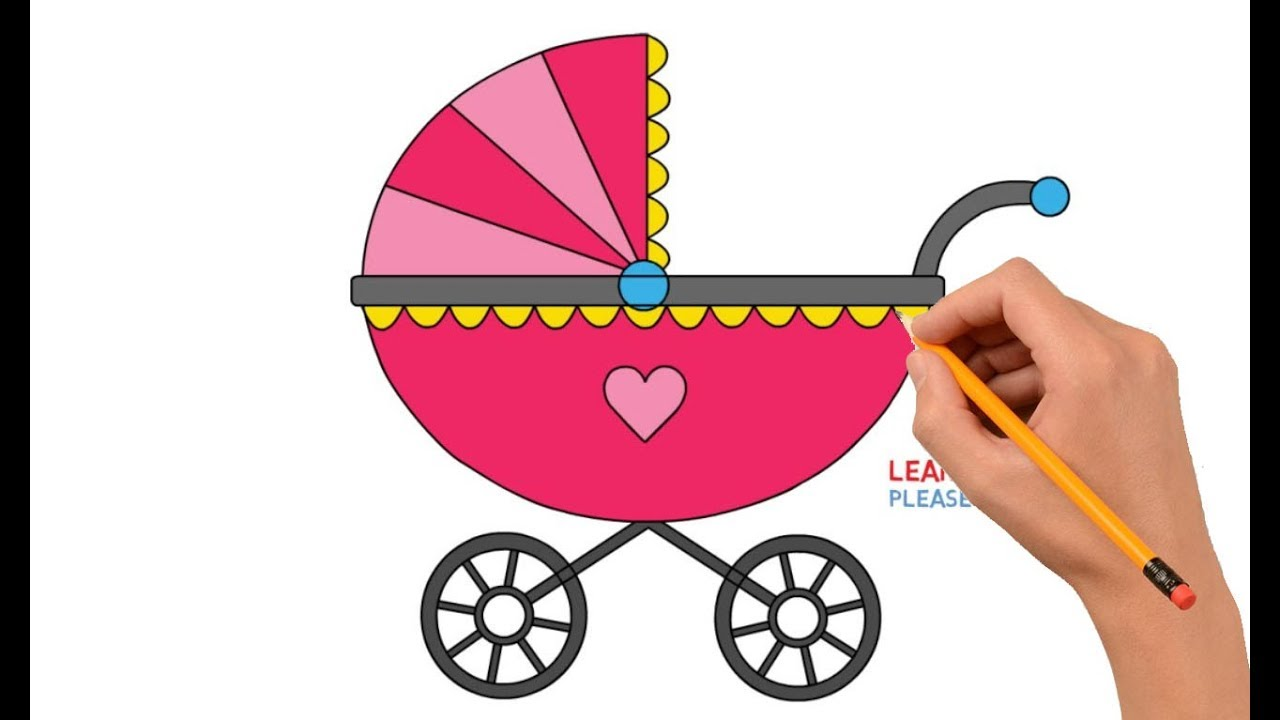 1280x720 How To Draw A Baby Stroller Step