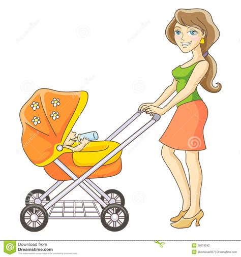 474x506 Mother Pushing Baby Stroller Drawing, Cartoon Baby Carriage