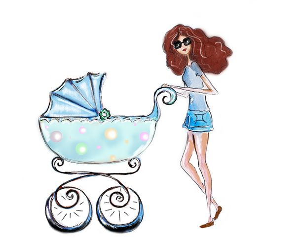 614x491 Girl With Stroller Illustration, Fashion Illustration Fashion