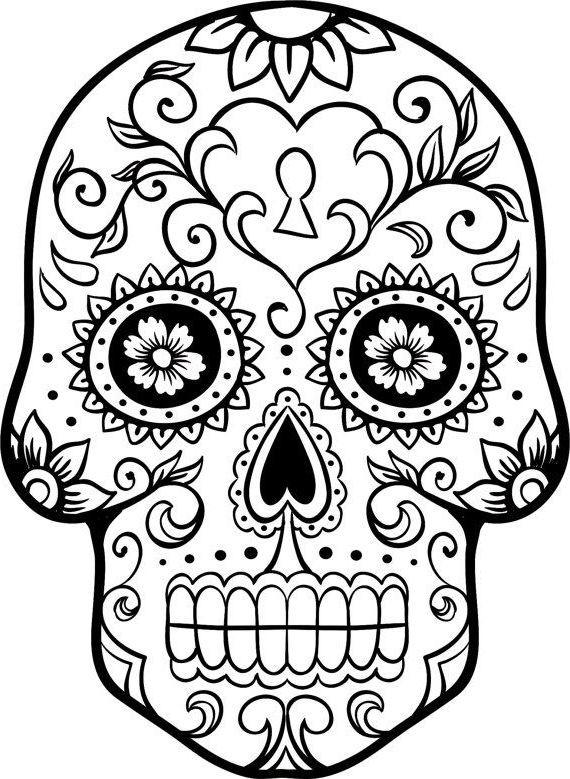 570x779 How To Draw A Sugar Skull Woman Sugar Skull Drawing Template