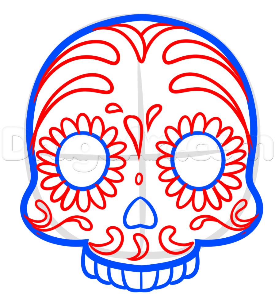897x973 How To Draw A Sugar Skull Emoji, Step