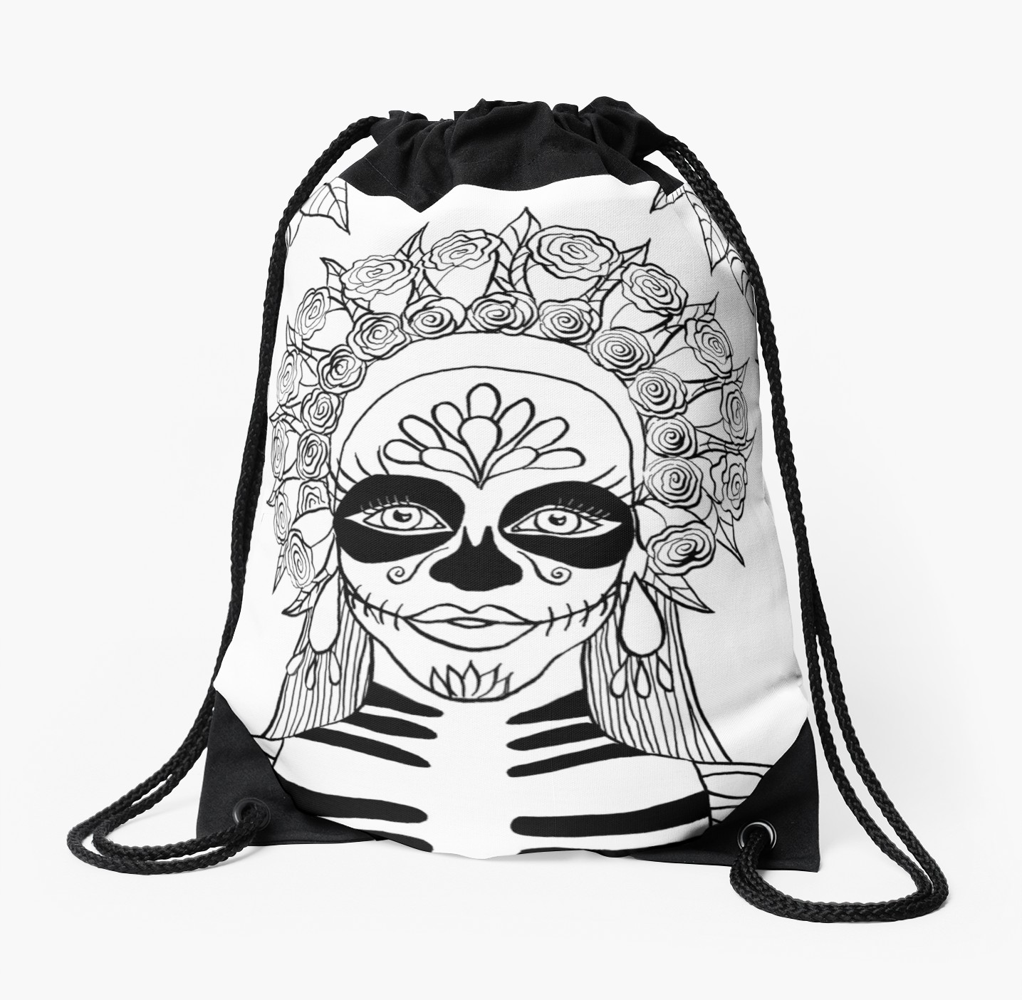1435x1404 La Calavera Catrina Sugar Skull Ink Drawing Drawstring Bag