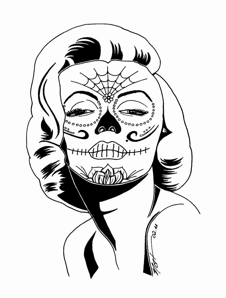 778x1024 Sugar Skull Drawing Template Unique Skull Drawing Dia Printable