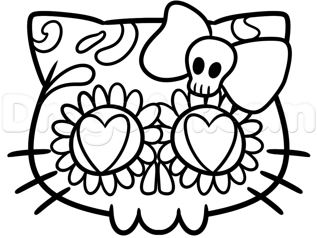1074x805 Hello Kitty Sugar Skull Drawing Lesson Step Diy Hello Kitty