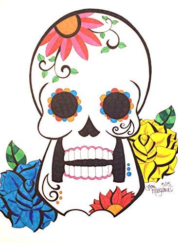366x500 Sugar Skull Drawing, Day Of The Dead Artwork