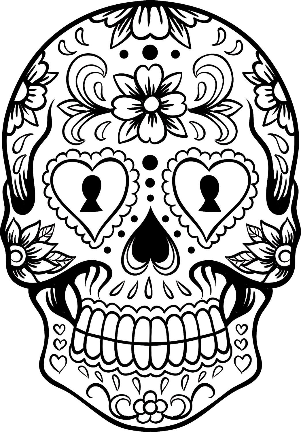 Sugar Skull Black And White Drawing