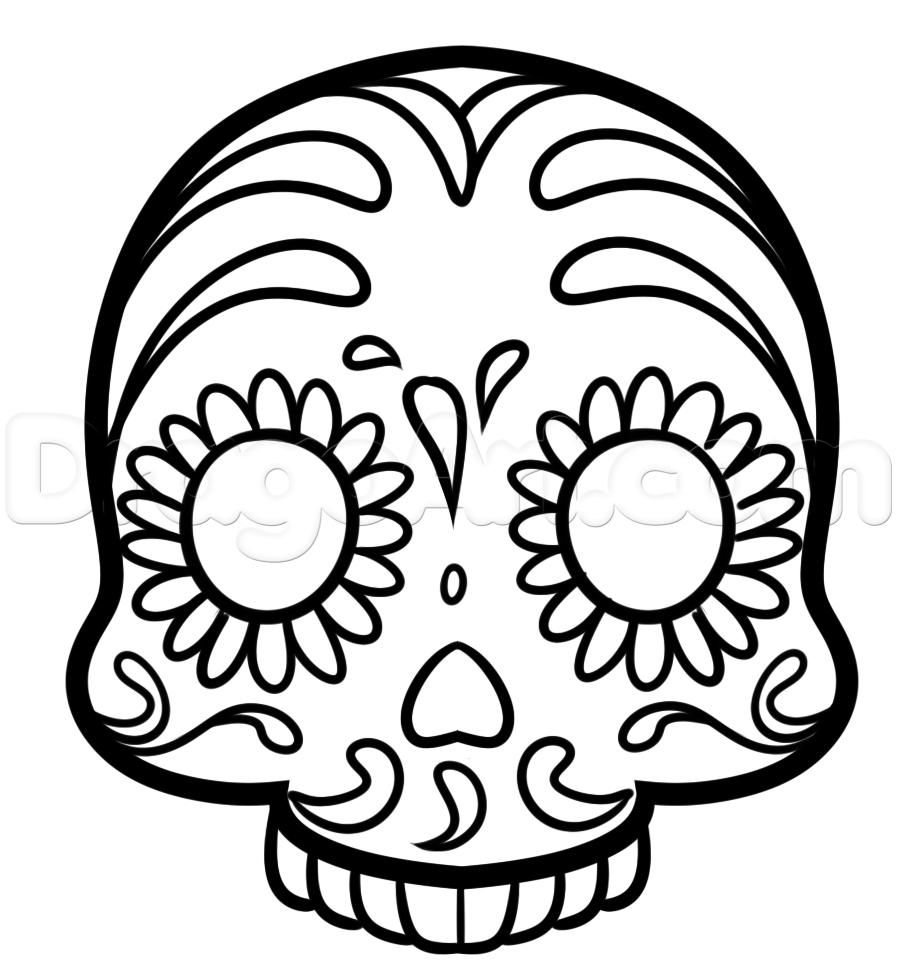 897x973 Drawn Sugar Skull Easy