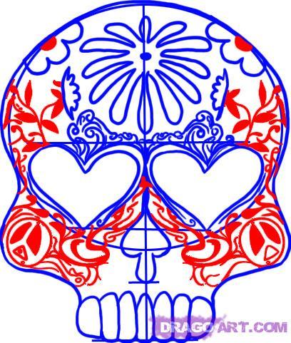 408x481 How To Draw A Sugar Skull Design, Step