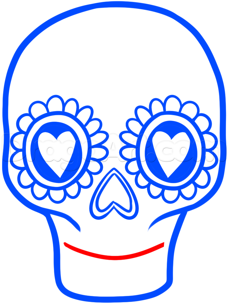 740x987 Step How To Draw A Sugar Skull Easy