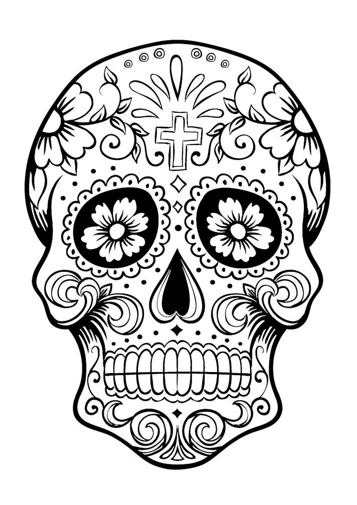 712x1007 Dia De Los Muertos Skull Drawing Sugar Painting Wall Art Template