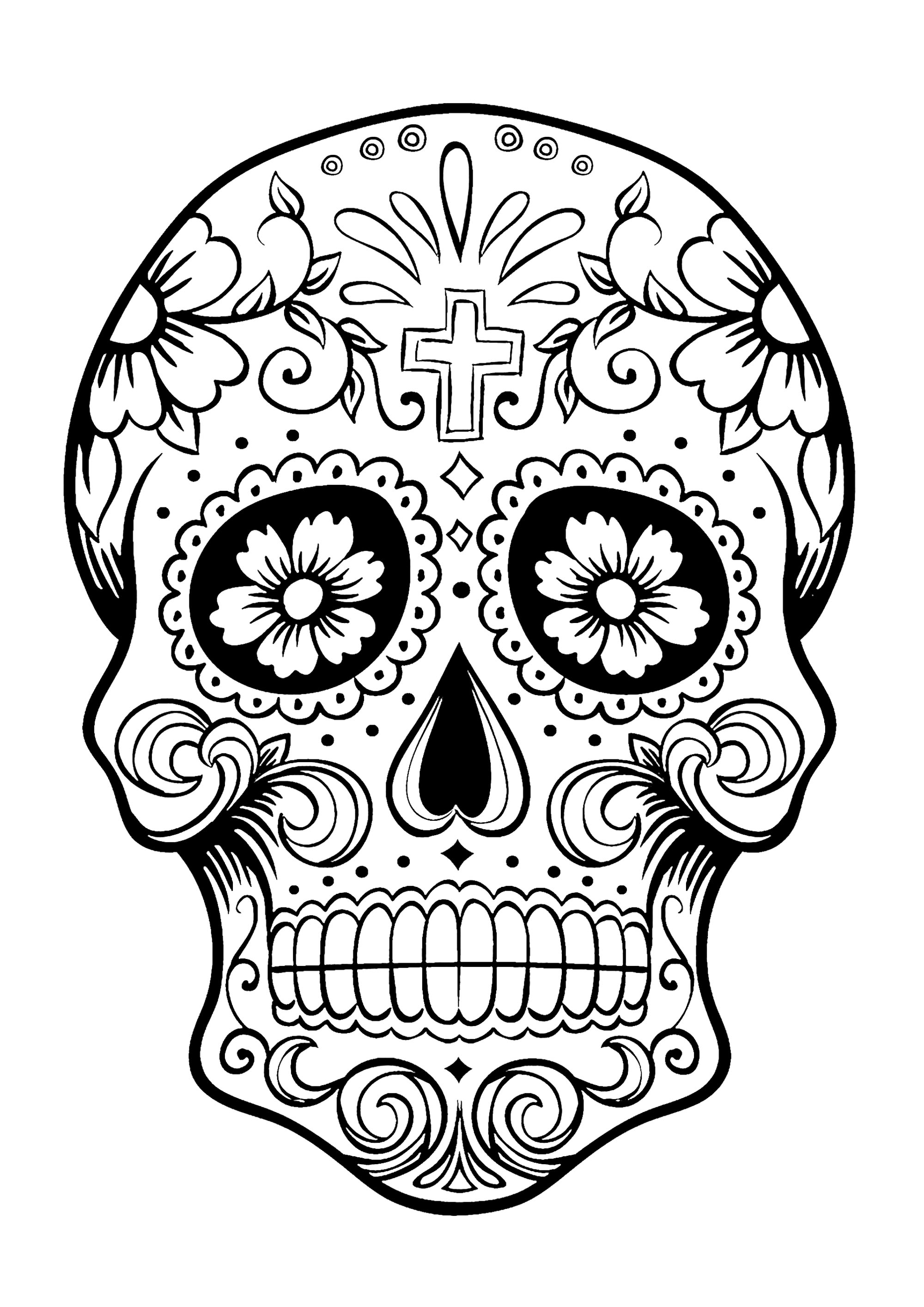 2000x2828 Dia De Los Muertos Skull Drawing Sugar Painting Wall Art Template