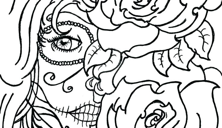 736x425 Sugar Skull Template Download For Pumpkin Drawing