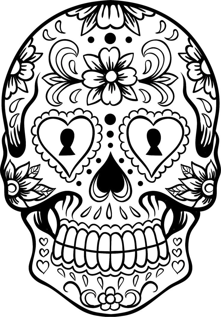 736x1056 Traceable Sugar Skull Coloring Sheets Skull Coloring Pages