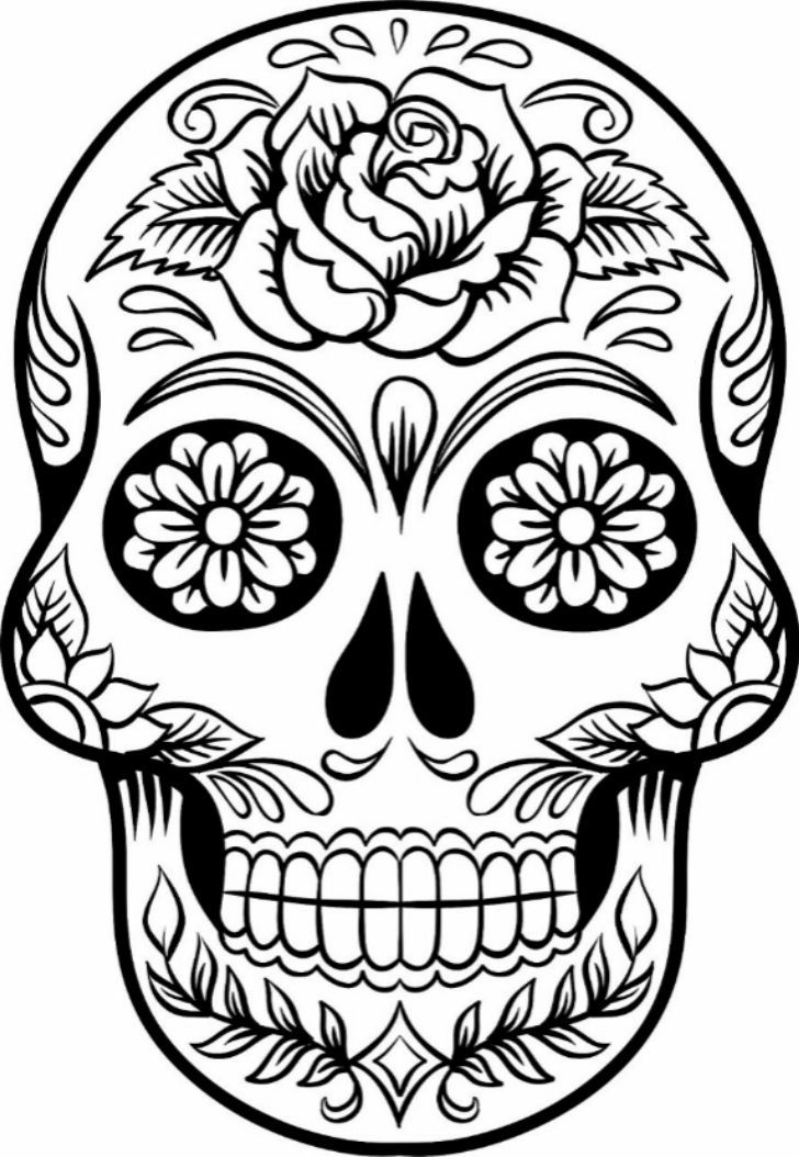 728x1054 Sugar Skull Drawing Template Gotemplates