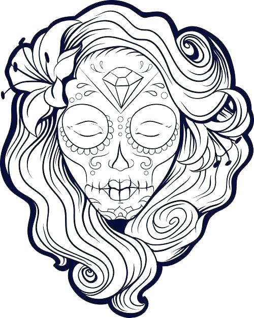 500x626 Sugar Skull Outlines Mebelmag