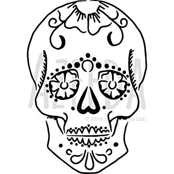 355x355 'sugar Skull' Wall Stencil Template