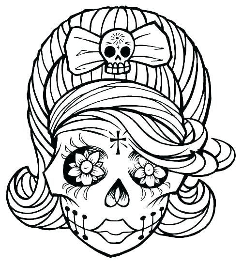 500x547 Sugar Skull Coloring Pages Free Sugar Skull Coloring Pages Sugar