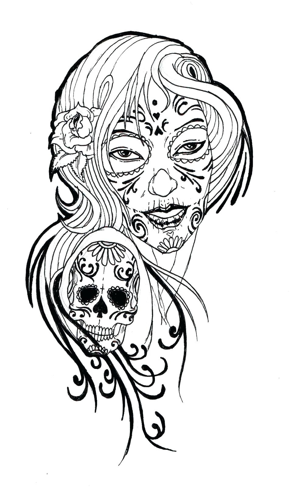 969x1600 Sugar Skulls Free Coloring Pages